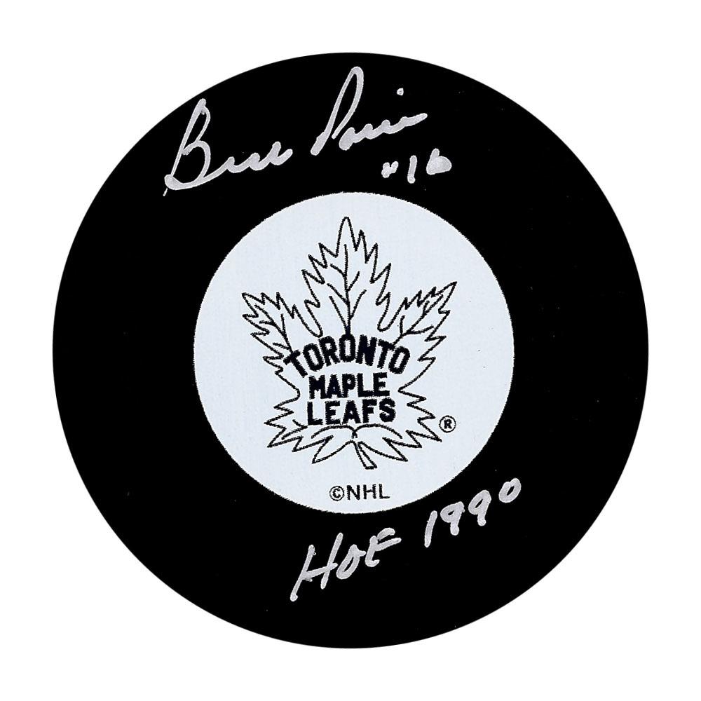 Bud Poile Autographed Toronto Maple Leafs Puck w/HOF 1990 Inscription