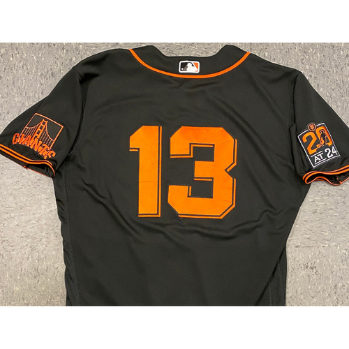 Photo of 2020 Game Used Black Home Alt Jersey worn by #13 Austin Slater on 8/1 vs. TEX (1-3) & 9/26 vs. SD (0-0, R, BB) - Size 46