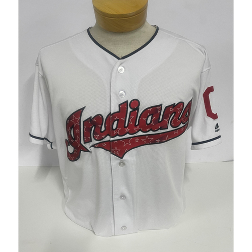 Photo of Team-Issued Jersey- Francisco Lindor- Astros at Indians- Stars and Stripes 2017 Jersey