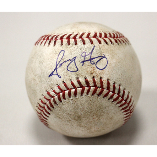 Game-Used Autographed Sonny Gray strikeout ball of Matt Joyce (LAA)