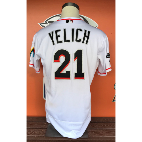 Photo of Christian Yelich 2017 Home Opener Game-Used Jersey - Size 44