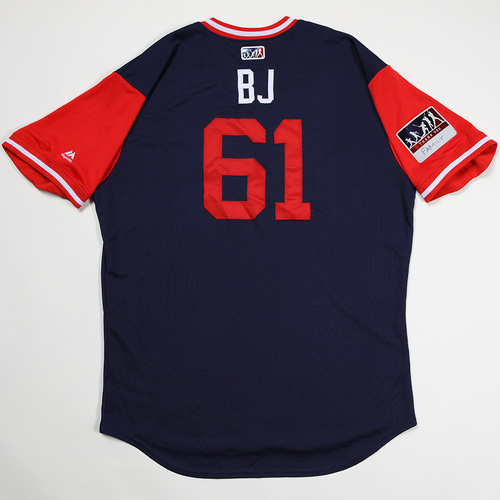 "Photo of Brian ""BJ"" Johnson Boston Red Sox Game-Used 2018 Players' Weekend Jersey"