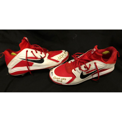 """Photo of Michael Lorenzen -- Game-Used & Autographed Cleats -- Inscribed as """"Game Used 2018"""" -- Silver Slugger Candidate Worn for Final At-Bat of 2018 Season"""