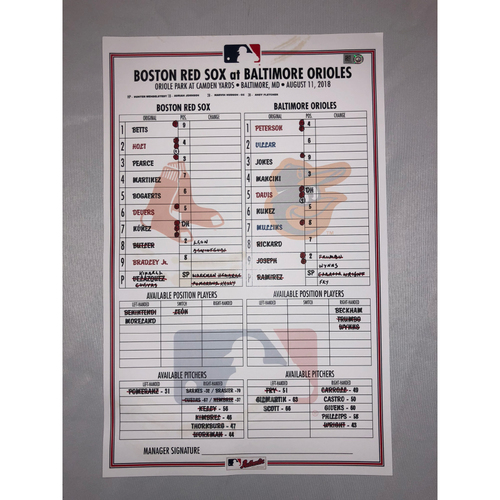 Photo of Red Sox at Orioles - August 11, 2018 Game 2 Game-Used Lineup Card - Red Sox Win 6 to 4