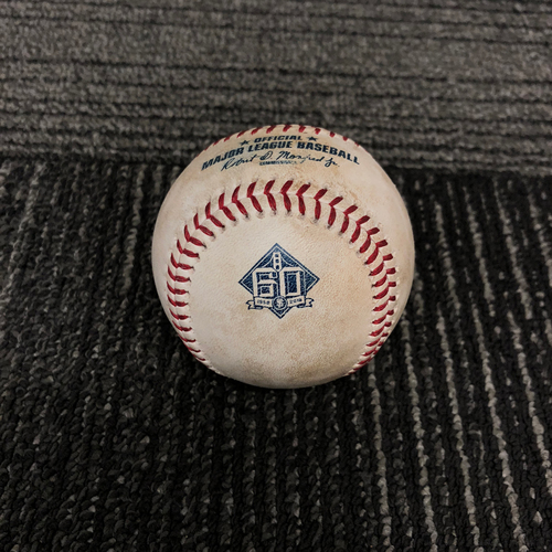 Photo of 2018 San Francisco Giants Game Used Baseball - 6/26/18 vs. Colorado Rockies - T-3: Derek Holland to DJ LeMahieu - Single to RF - 2018 National League Gold Glove