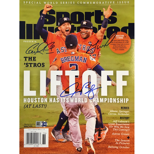 Photo of Jose Altuve, Alex Bregman, and Carlos Correa Autographed Sports Illustrated Magazine
