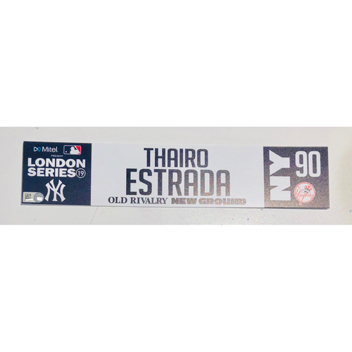 Photo of 2019 London Series - Game Used Locker Tag - Thairo Estrada, New York Yankees vs Boston Red Sox - 6/30/2019