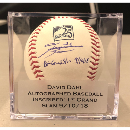 "Photo of Colorado Rockies 25th Anniversary Autographed and Inscribed David Dahl Baseball (""1st Grand Slam: 9/10/18"")"