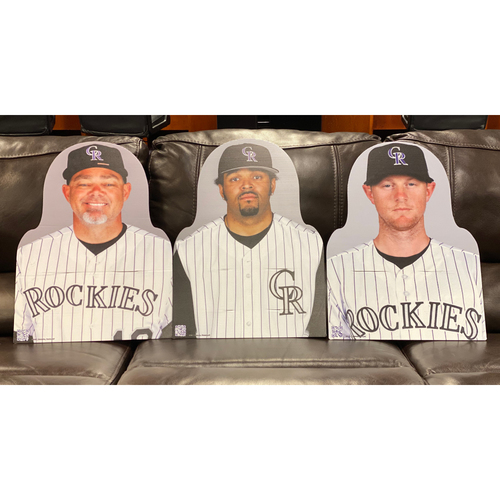 Photo of Colorado Rockies Foundation: NL All-Star Set: Dante Bichette, DJ LeMahieu, and Shawn Chacon.