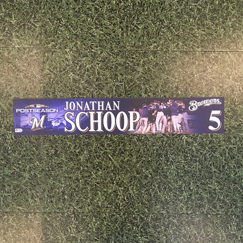 Photo of Jonathan Schoop 2018 Game-Used Postseason (NLDS) Locker Nameplate