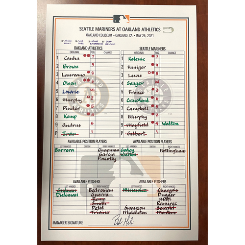 Photo of Game-Used Lineup Card - Mariners vs A's - 5/25/21