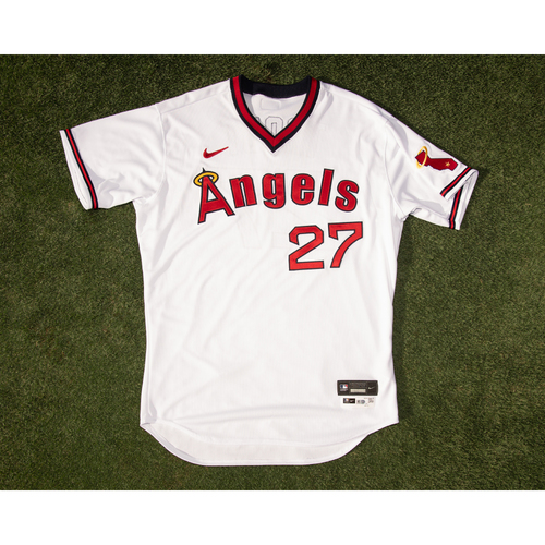 Photo of Mike Trout Team Issued 70's Throwback Jersey