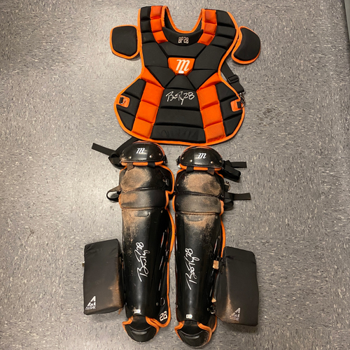 Photo of Buster Posey BP28 Foundation - 2021 Autographed Game Used Catchers Gear used & signed on 8/31 vs. MIL by #28 Buster Posey - Shin Guards & Chest Protector