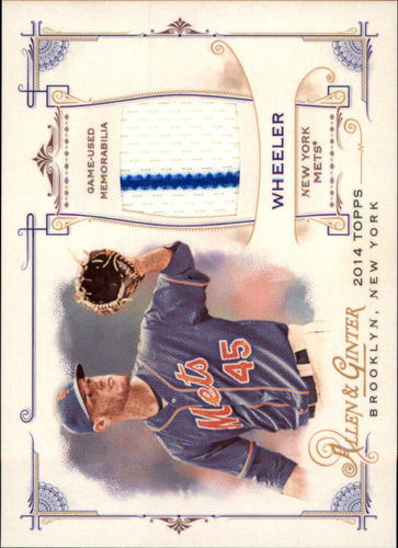 Photo of 2014 Topps Allen and Ginter Relics #FRBZW Zack Wheeler B