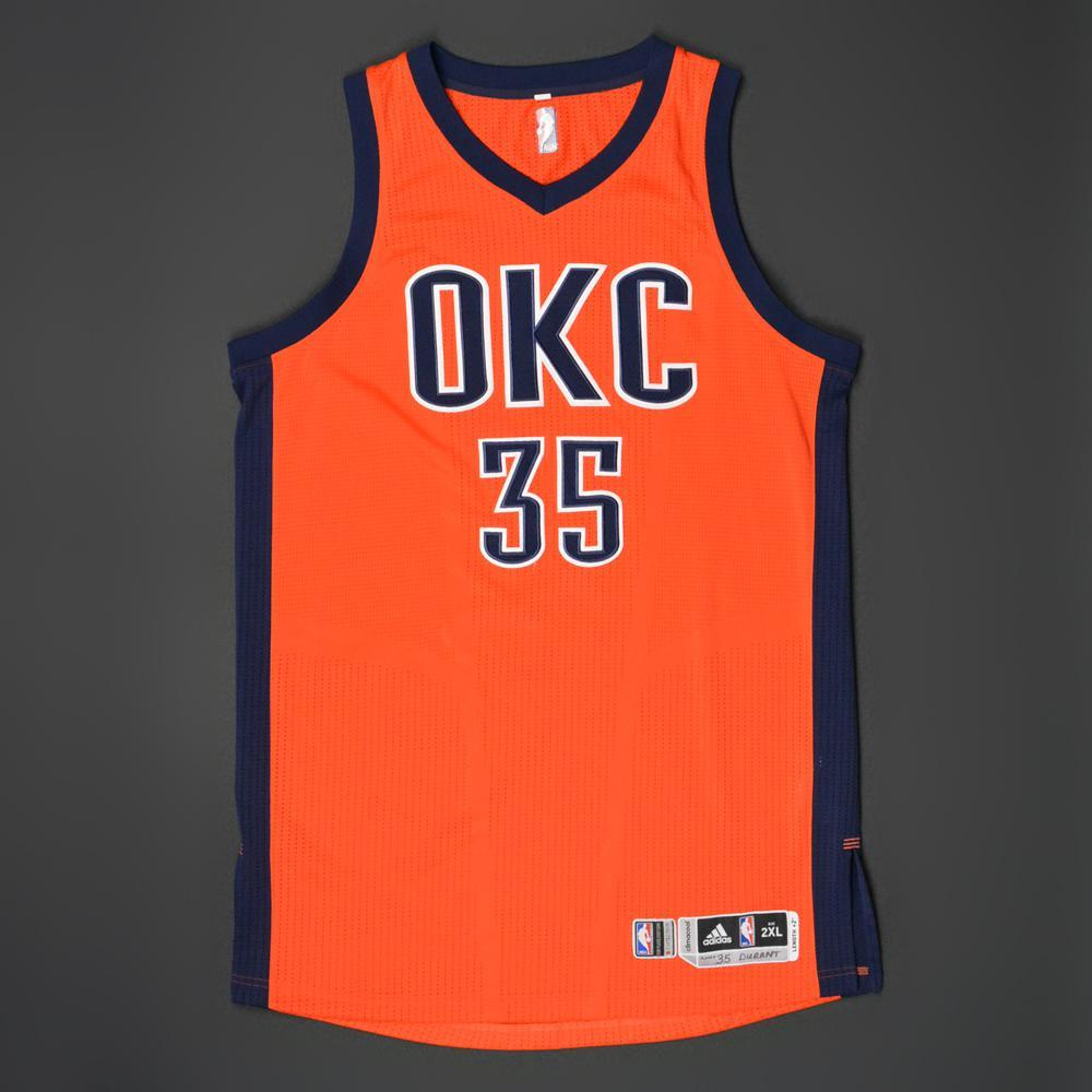 brand new 0b275 b870d Kevin Durant - Oklahoma City Thunder - Game-Worn Road ...