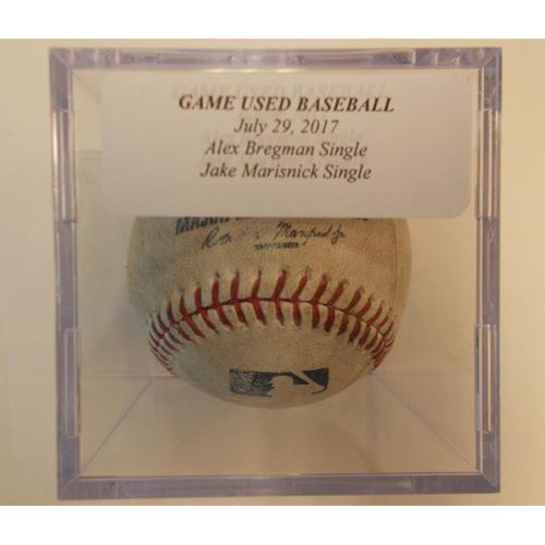 Game-Used Baseball: Alex Bregman and Jake Marisnick Single