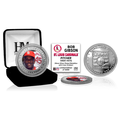 Photo of Bob Gibson Baseball Hall of Fame Silver Color Coin