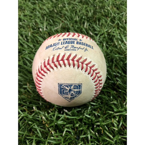 Photo of 20th Anniversary Game Used Baseball: Blake Snell strikes out Whit Merrifield and Alex Gordon - August 21, 2018 v KC