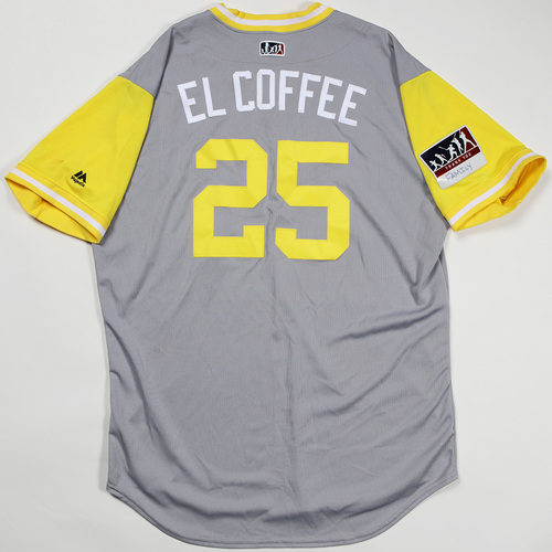 "Photo of Gregory ""El Coffee"" Polanco Pittsburgh Pirates Game-Used Jersey 2018 Players' Weekend Jersey"