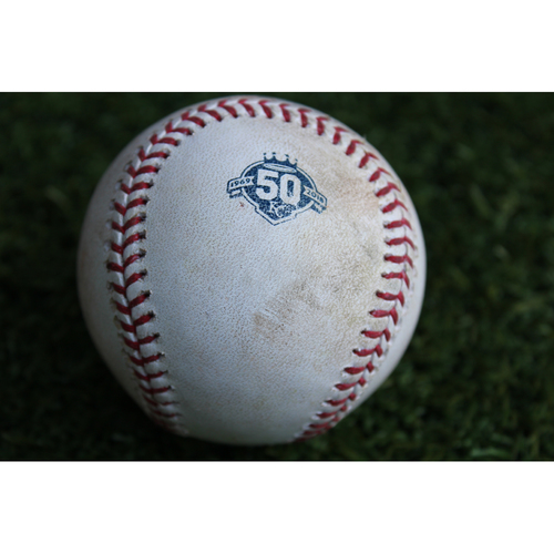 Photo of Game-Used Baseball: Isiah Kiner-Falefa 12th Career Double and 21st Career RBI (TEX @ KC - 6/19/18)