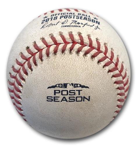 Photo of Game-Used Baseball -- Adam Ottavino to Javier Baez, RBI Game-Tying Double, Bot 8, 82.5 MPH Slider -- 2018 N.L. Wild Card Game -- Rockies vs. Cubs -- 10/2/18
