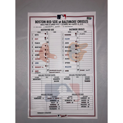 Photo of Red Sox at Orioles - August 12, 2018 Game-Used Lineup Card - Red Sox Win 4 to 1