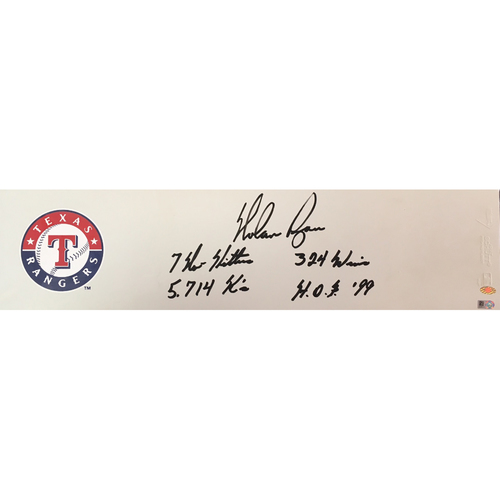 "Photo of Nolan Ryan ""STATS"" Autographed Rangers Pitching Rubber"