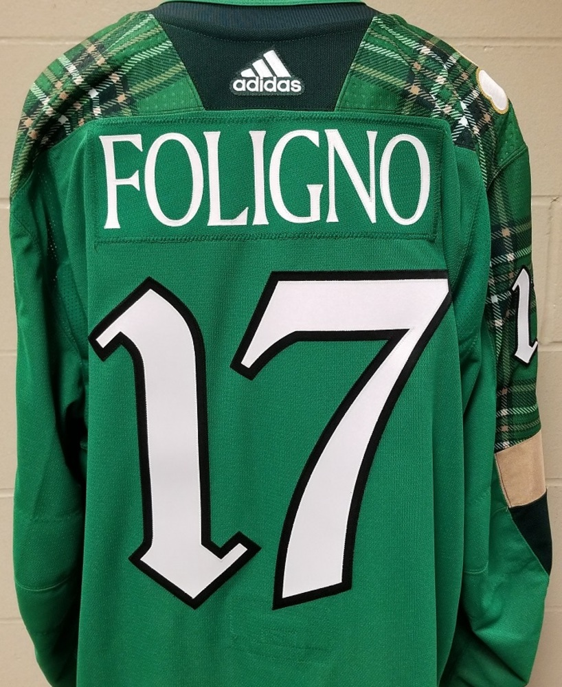 Marcus Foligno Minnesota Wild 2019 St. Patty's Day Warm-Up Jersey