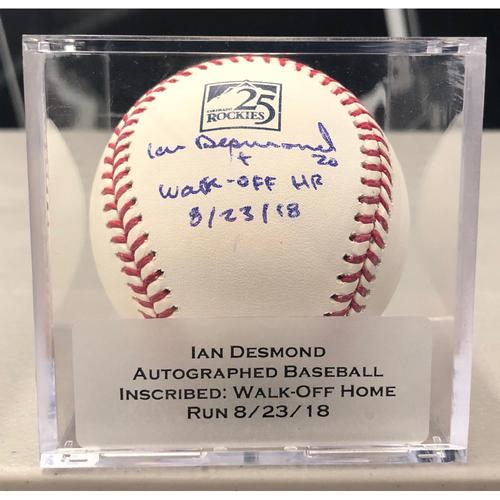 "Photo of Colorado Rockies 25th Anniversary Autographed and Inscribed Ian Desmond Baseball (""Walk-Off Home Run: 8/23/18"")"