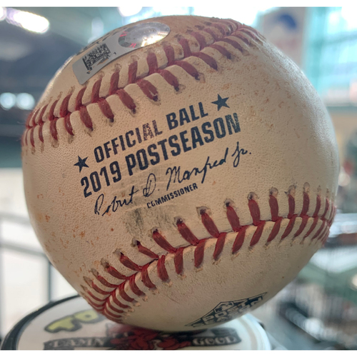 Photo of 2019 Game-Used Baseball Game 6 ALCS 10/19/19 Astros vs. Yankees: Josh James to Gleyber Torres-Top 3rd (Single to LF)