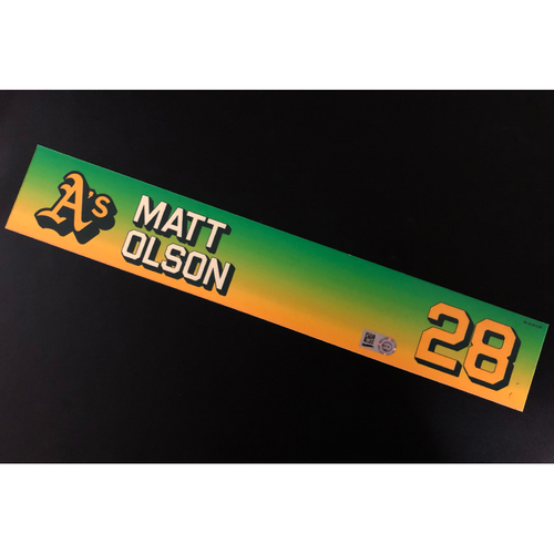 Photo of Game-Used 2020 Season Locker Nameplate - Matt Olson