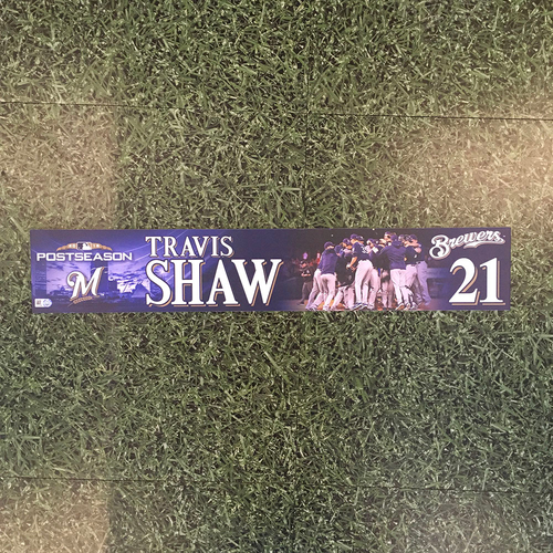 Photo of Travis Shaw 2018 Game-Used Postseason (NLDS) Locker Nameplate