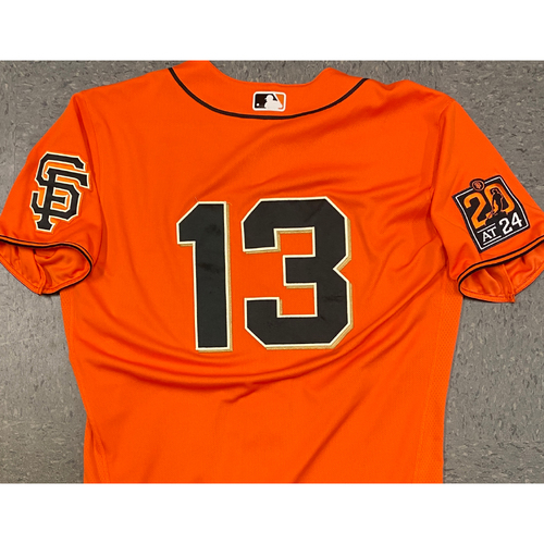 Photo of 2020 Game Used Orange Home Alt Jersey worn by #13 Austin Slater on 7/31 vs. TEX (1-5) & 9/25 vs. SD GM 2 (0-0, R, BB) - Size 46