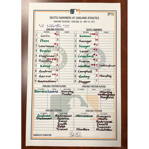Photo of Game-Used Lineup Card - Mariners vs A's - 5/26/21