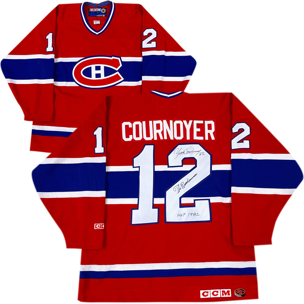 Yvan Cournoyer Autographed Montreal Canadiens CCM Jersey w/THE ROADRUNNER & HOF 1982 Inscriptions