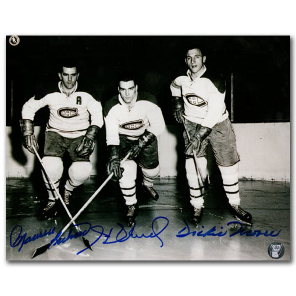 Dickie Moore, Henri Richard & Maurice Richard Autographed Montreal Canadiens 8X10 Photo