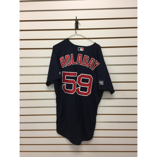 Bryan Holaday Game-Used ALDS Game 1 Road Alternate Jersey