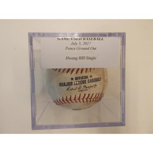 Game-Used Baseball: Hunter Pence Line Out and Jae-gyun Hwang RBI Single
