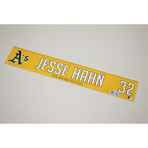Jesse Hahn 2016 Team-Issued Home Clubhouse Locker Nameplate