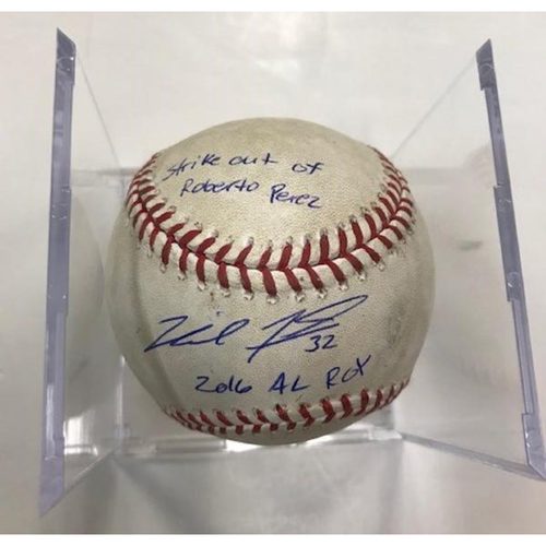 Photo of Autographed Game-Used Baseball: Michael Fulmer Strike Out of Roberto Perez