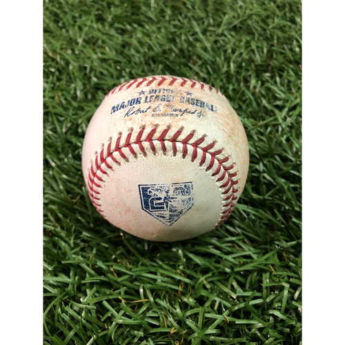 Photo of 20th Anniversary Game Used Baseball: Kevin Kiermaier single, Willy Adames ground out, Michael Perez single and Carlos Gomez double off Jake Junis - August 22, 2018 v KC
