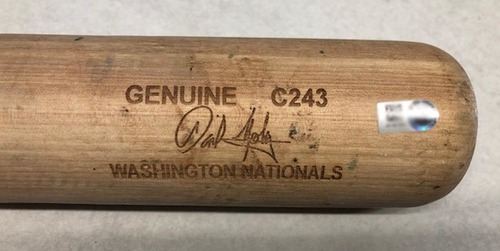 Photo of Daniel Murphy Game-Used Cracked Bat -- Luis Castillo to Daniel Murphy, Foul Ball, Bot 4 -- Reds vs. Cubs -- 9/16/18