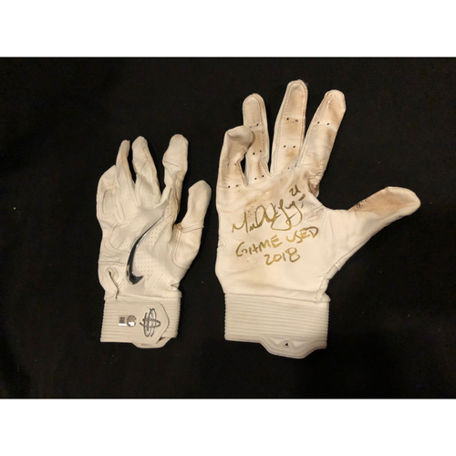 "Photo of Michael Lorenzen -- Game-Used & Autographed Batting Gloves -- Inscribed as ""Game Used 2018"" -- Silver Slugger Candidate Worn for Final At-Bat of 2018 Season"
