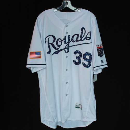Photo of Game-Used Independence Day Game Jersey: Jason Hammel (Size 48 - CLE @ KC - 7/4/18)