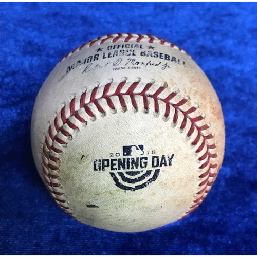 Photo of Opening Day Game Ball,  Francisco Lindor Walk & Zimmer Score on Passed Ball