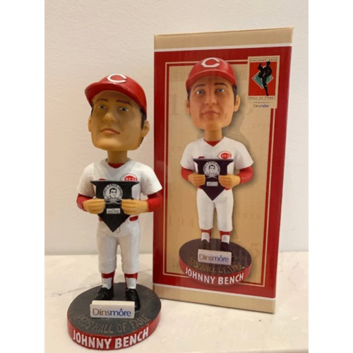Photo of Johnny Bench Autographed Reds Hall of Fame Bobblehead