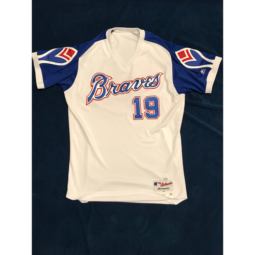 Photo of Shane Green (Team-Issued or Game-Used) 2019 Atlanta Braves Hank Aaron Weekend 1974 Throwback Jersey