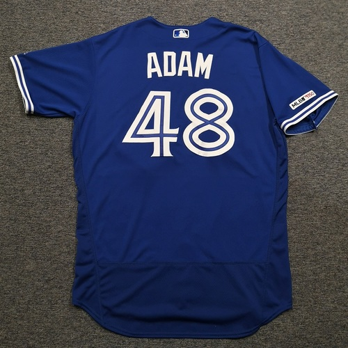 Photo of Authenticated Game Used Jersey: #48 Jason Adam (Aug 8, 19 vs NYY: 2.2 IP, 1 Hit, 0 ER). Size 48