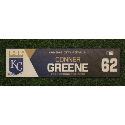 Photo of Game-Used Spring Training Locker Tag: Conner Greene #62