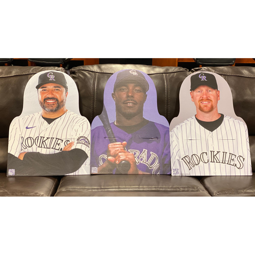 Photo of Colorado Rockies Foundation: NL All-Star Set: Vinny Castilla, Jeffrey Hammonds, and Aaron Cook.